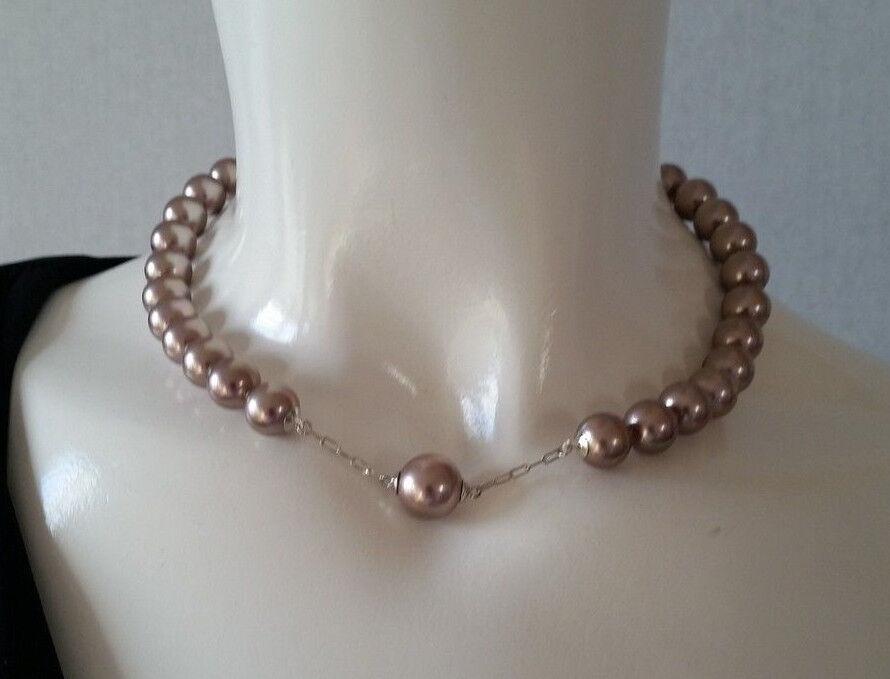 Misaki Collana Roséfarbige Perle Corto color silver Nuovo