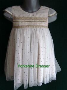 New-MONSOON-Girl-Age-3-12m-amp-2-3yrs-MILA-Ivory-Gold-Spot-Party-Flower-Girl-Dress