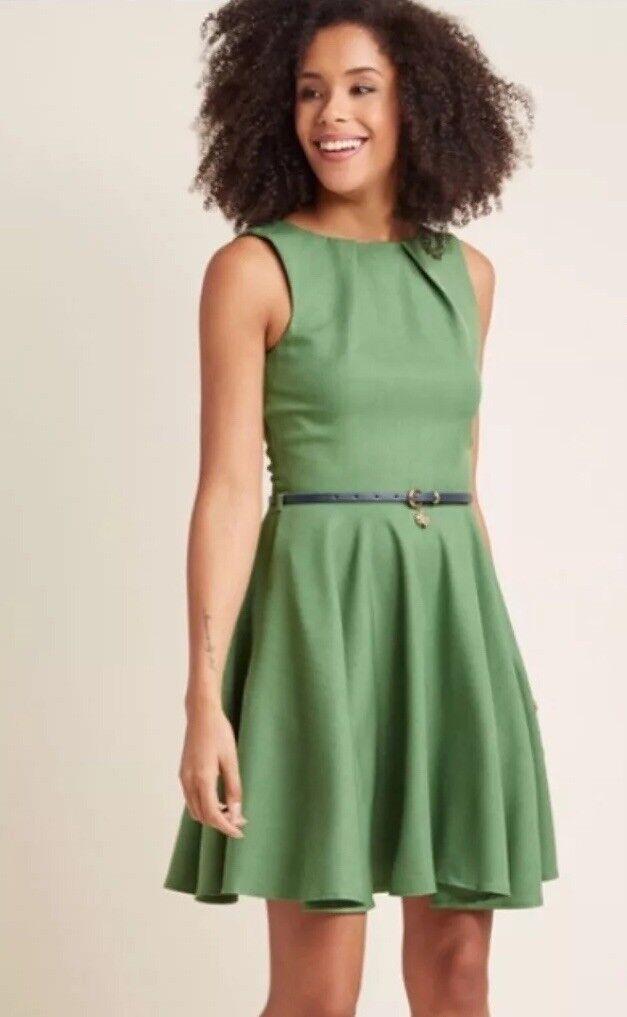 Modcloth Dress Retro Vintage Style Fit And Flare Grün Größe Small Closet UK