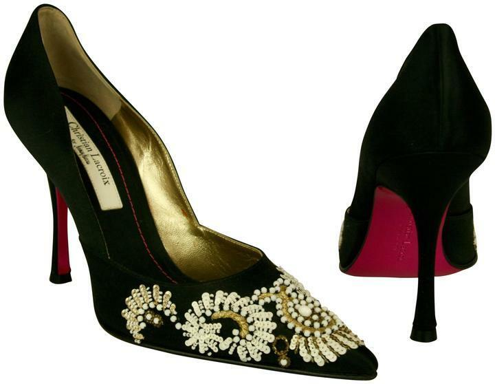 NWT CHRISTIAN LACROIX BLACK SILK PUMPS SHOES, EMBROIDERY BEADING SEQUINS SZ 39.5