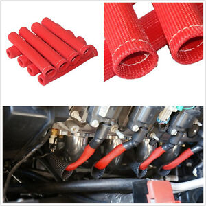 8 PCS RED SPARK PLUG WIRE BOOT HEAT SHIELD PROTECTOR SLEEVE ...