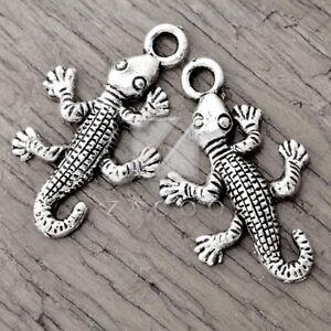 40pcs Tibetan Silver Metal Pendant Charm Jewelry Findings House Lizard 26x16x2mm