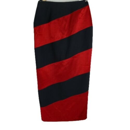 JAN BARBOGLIO WOOL MIDI PENCIL SKIRT RED AND BLACK
