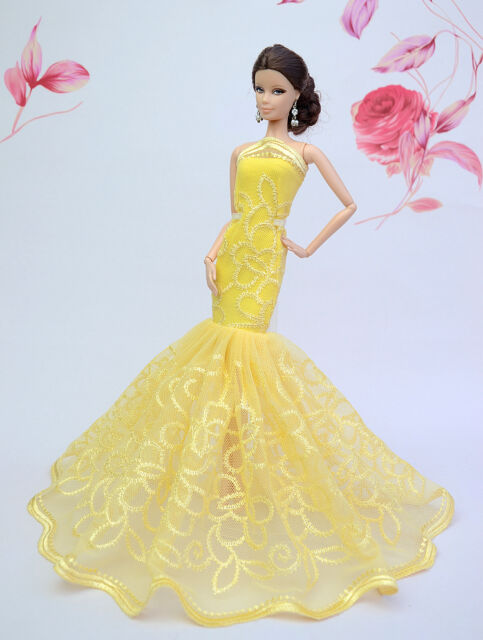 Yellow Royalty Mermaid Dress Dress/wedding Clothes/gown for Barbie ...