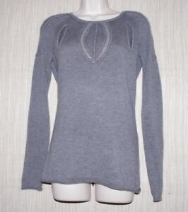PORTS-1961-Gray-100-Cashmere-Crew-Neck-Women-Sweater-Pullover-Size-M