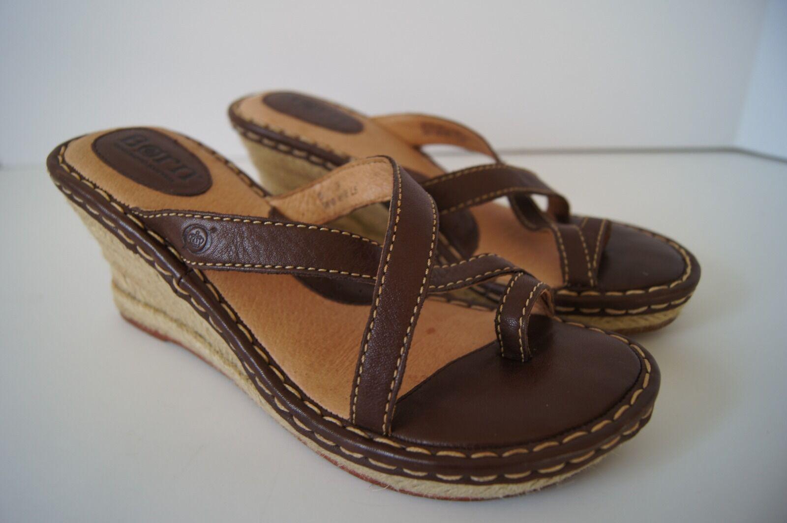 Né en Cuir Marron Plate-forme Wedge Sandales Taille 8 39
