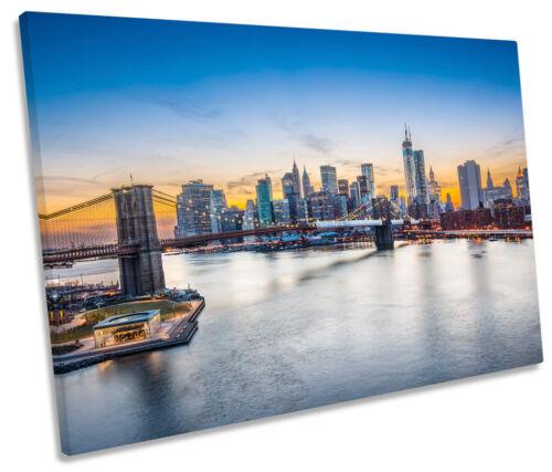 New York Skyline City Sunset Scene SINGLE CANVAS WALL ART Framed Print