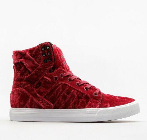 NIB Supra Skytop Velvet Dark Ruby//White Big Kid/'s Athletic Skate Boarding Shoes