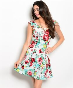 USA-New-Boho-Rose-Floral-Scoop-Neck-Western-Summer-Spring-Short-Dress-S-M-L
