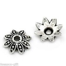 "3//8/""x3//8/"" 1000PCs Metal Bead Caps Flower Silver Tone 8mmx8mm"