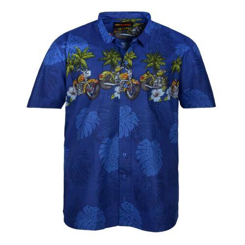 XXL kamro azul camisa hawaiana presión motivo moto