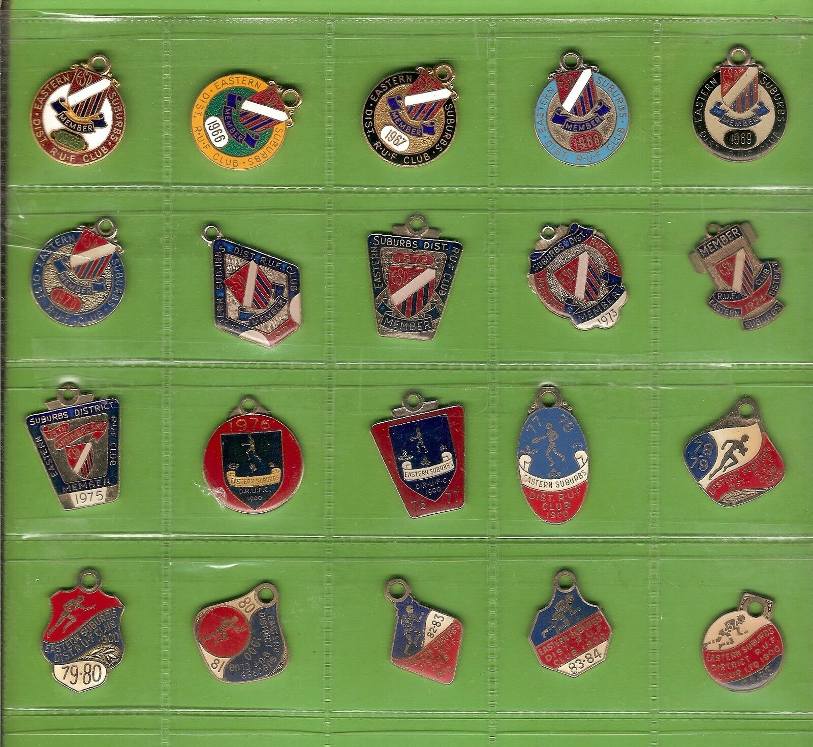 T54.  20  EASTERN SUBURBS  DISTRICT RUGBY UNION  MEMBER'S BADGES 1965 to 1985