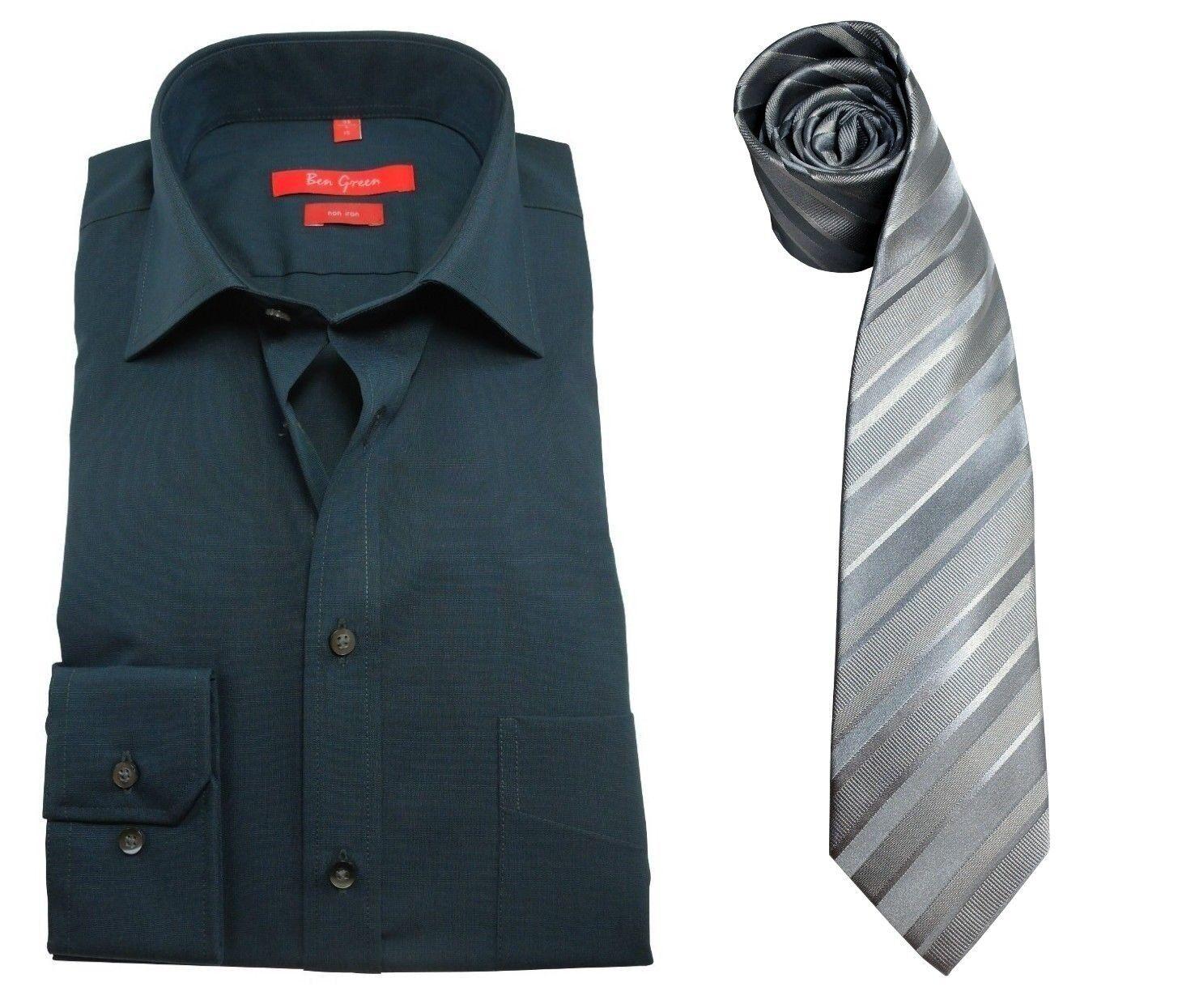 ANGEBOT Ben Green Redline Regular Fit Langarmhemd petrol Gr. 38 + Seidenkrawatte
