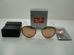 cf8b35085a3 RAY-BAN ROUND FOLDING SUNGLASSES RB3517 001 Z2 GOLD FRAME COPPER ...
