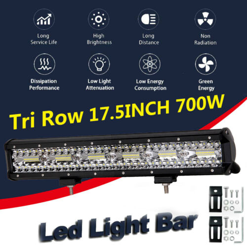 18IN 700W LED Work Light Bar Tri Row Spot Flood Combo Off Road Truck Car 4WD SUV