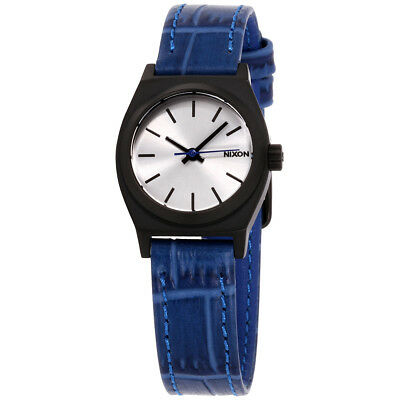 Nixon Time Teller Silver Dial Leather Strap Ladies Watch A509213100