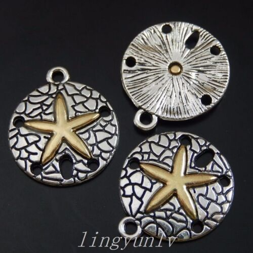 30 Pieces Antiqued Silver Alloy Round Charms Pendants Gold Star Jewelry 50080