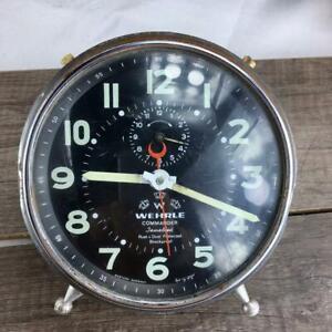 Vintage Wehrle alarm clock Wehrle Commander Jewelled Working Rare model German