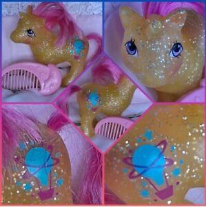 ❤️My Little Pony MLP G1 Vtg BABY SPARKLE GUSTY Glitter Unicorn Pink Star COMB❤️