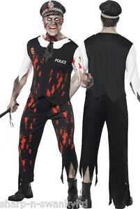Mens Zombie Cop Police Living Dead Halloween Fancy Dress Horror Party Costume