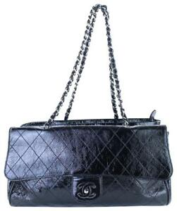 9faed0e9b978 Image is loading Chanel-Quilted-Kisslock-Flap-Tote-Silver-Patent-Leather-