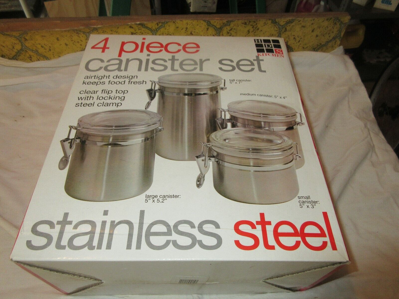 HDS Kitchen , 4 Piece Cannister Set , Stainless Steel