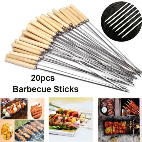 Flat Barbecue Stick BBQ Roasting Skewers Wooden Handle Reusable Stainless Steel