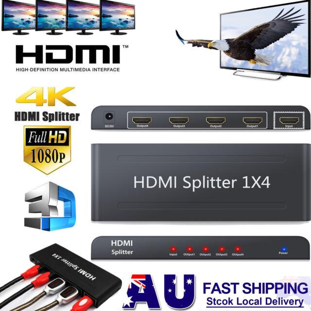 HDMI Splitter Amplifier Duplicator 4 Way 1x4 Hub 1 in 4 out 3D 1080p 4K Ultra HD