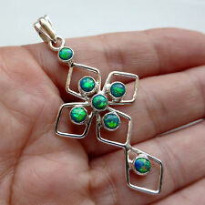 Green Fire Opal Cross 925 Sterling Silver Pendant Jewellery