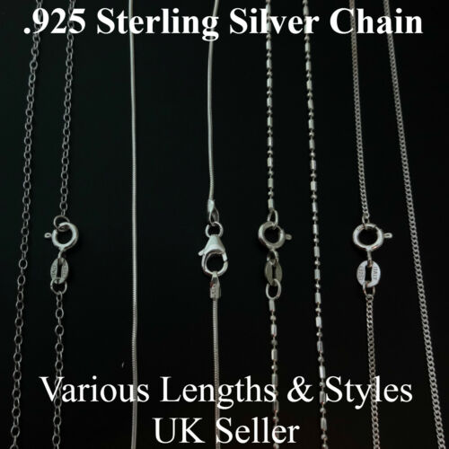 ".925 Sterling Silver Necklace Chain 16/"" 18/"" Curb Trace Snake Bead Chains Finding"
