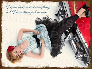 30x40cm-Pinup-Miss-Rebecca-Rose-Rustic-Tin-Sign-Man-Cave-Bar-Garage-Retro