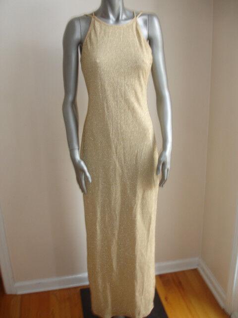 ROBERTA DRESS gold SPARKLE size L SLEEVELESS LONG SIDES SPLITS YELLOW STUNNING