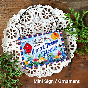 Nana-Poppy-039-s-House-New-USA-DecoWords-Mini-Sign-Wood-Ornament-Sky-Blue-over