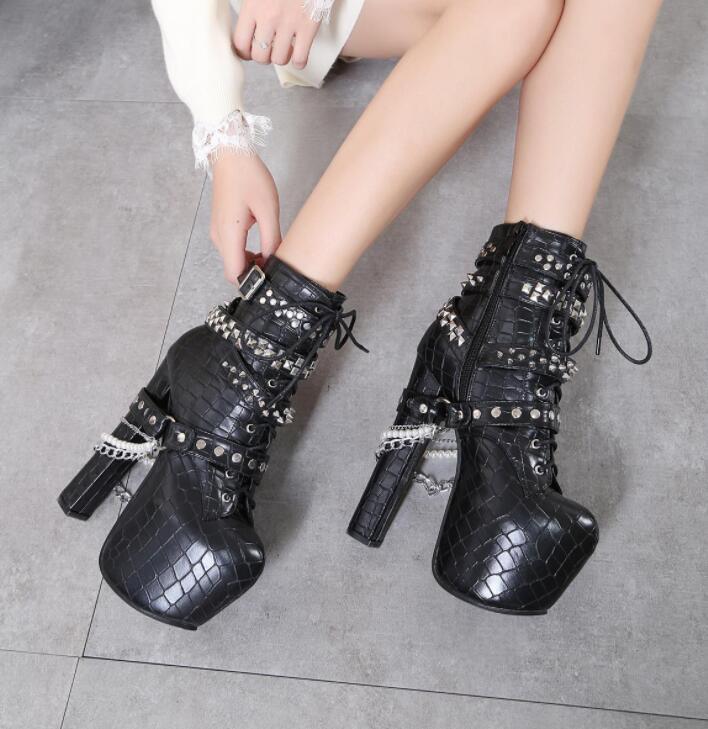 Femme Punk Rivet Chaîne Mode Moto Oxford et talon bottier haut talon chaussures