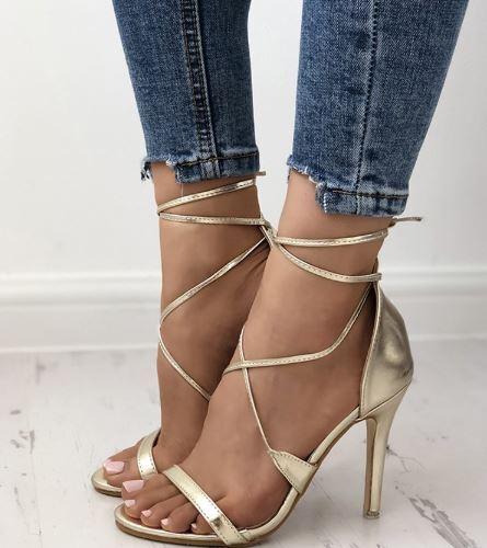 Sandale stiletto tronchetto oro lucido  12 cm  simil pelle eleganti 1311