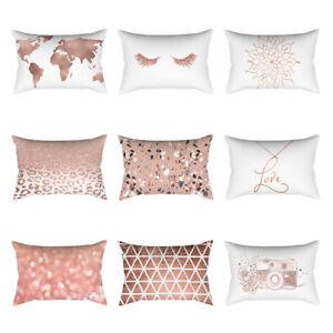 Rose-Gold-Pink-Cushion-Cover-Square-Pillowcase-Home-Decor-30cm-X-50cm-Best