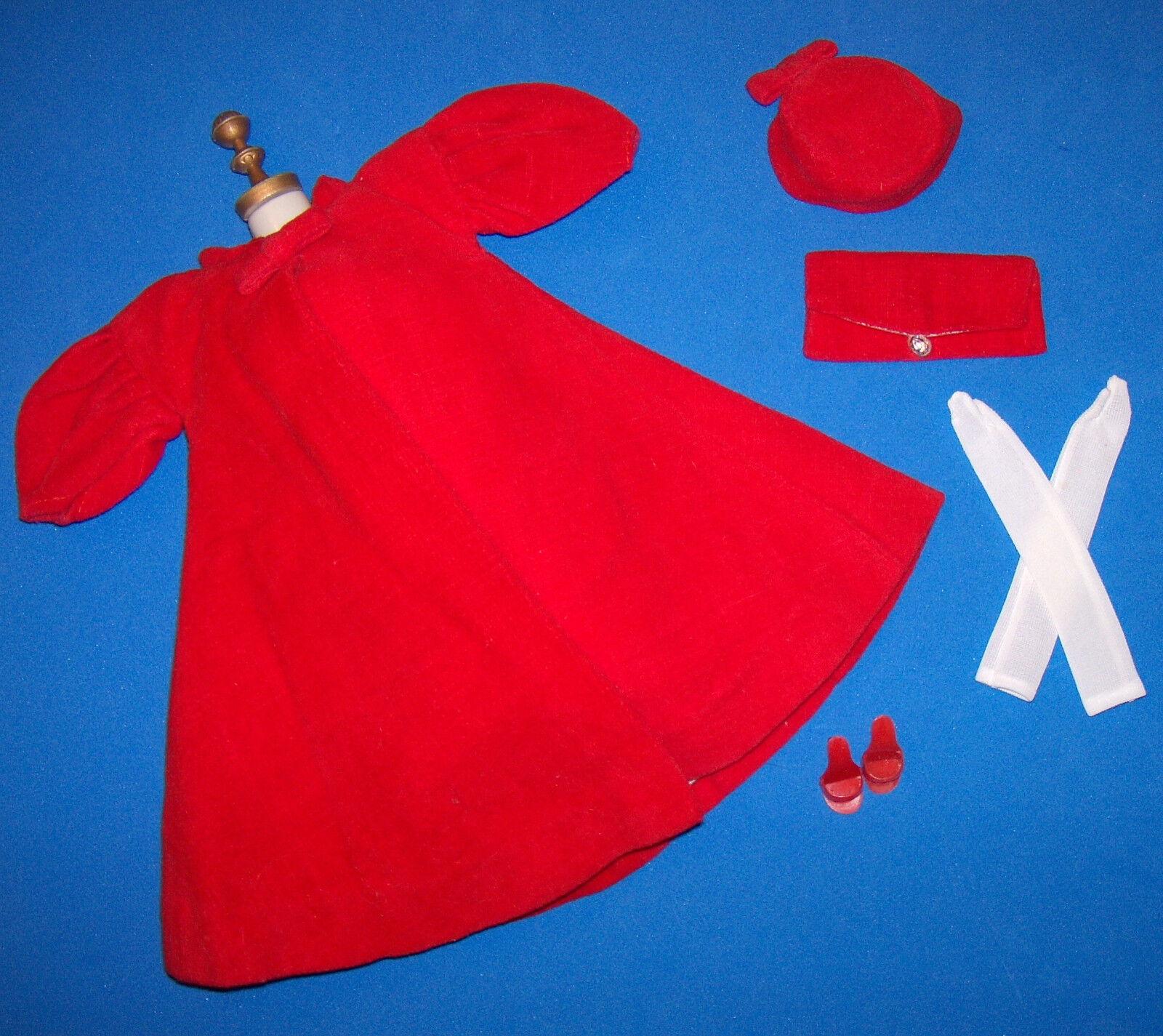 Vintage Barbie Rossi Flare  939 Velluto Cappotto Hat Guanti Lunghi Borsetta