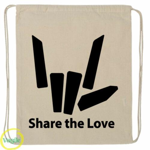 Share The Love School Boys Girls Kids Kit Backpack Sport Gym Swim Drawstring Bag