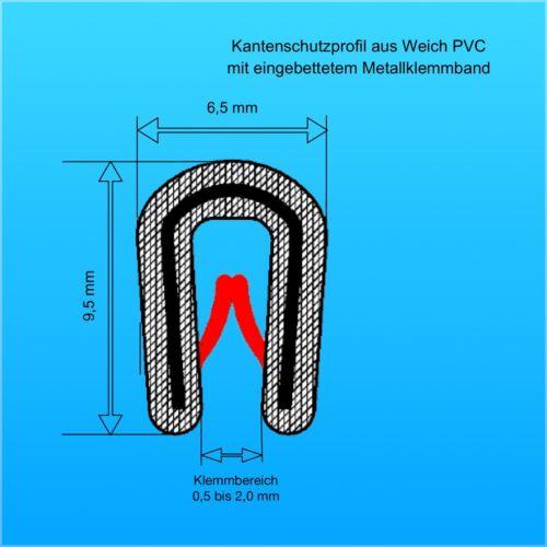 Profil de Protection des Bordures à partir 1-10 M Noir 1-2 mm Bord Passepoil