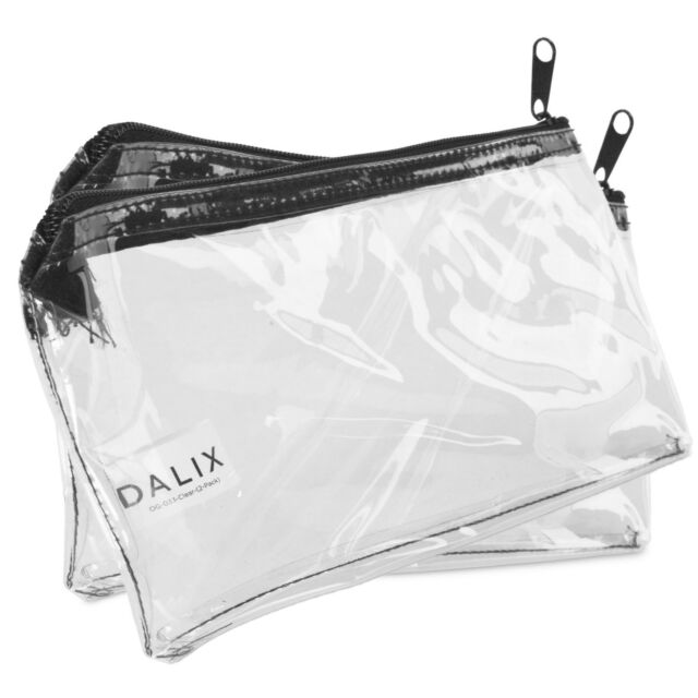 Dalix Zipper Makeup Bag Pencil Pouch Travel Accessories Holder Clear Transpa