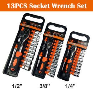 13Pcs-1-4-034-3-8-034-1-2-034-Hex-Socket-Ratchet-Wrench-Universal-Joint-Extension-Set