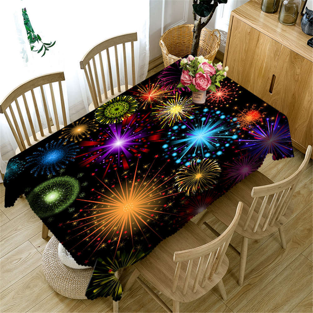 Lively Fireworks 3D Tablecloth Table cover Cloth Cloth Cloth Rectangle Wedding Party Banquet c0394a