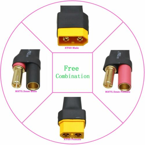 Aucun fil Adaptateur Connecteur HXT 5.5 mm Balle Pour XT60 pour contrôle radio Turnigy Zippy Bricolage