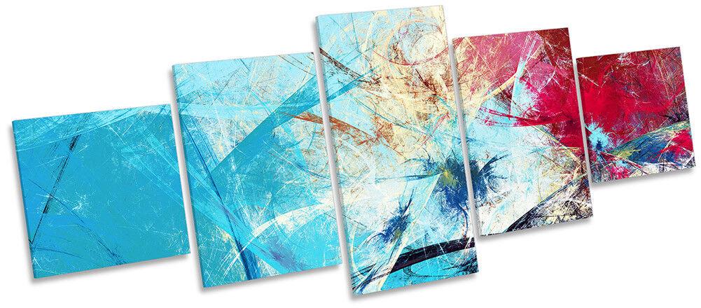 Blau Abstract rot Grunge Framed CANVAS PRINT Five Panel Wall Art