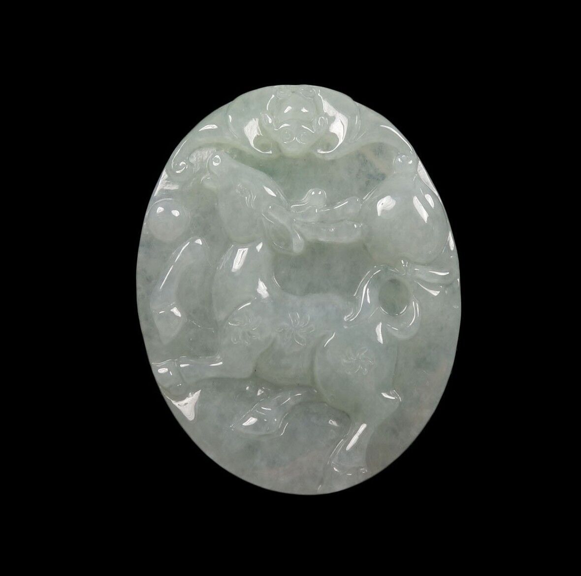 Certified Grade A 100% Natural Green Jade Jadeite Pendant Hand-Carved Deer 54838