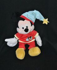 Peluche doudou mickey saumon DISNEY pyjama rouge bonnet de nuit bleu 30 cm TTBE