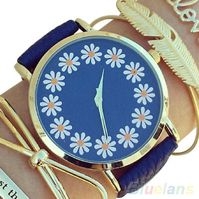 Women's Girl's Faux Leather Chrysanthemum Round Dial Analog Quartz Wrist Watch
