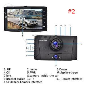 4/'/' HD 1080P 3 Lens Car DVR Dash Cam Vehicle Video Recorder Rearview Camera 170°