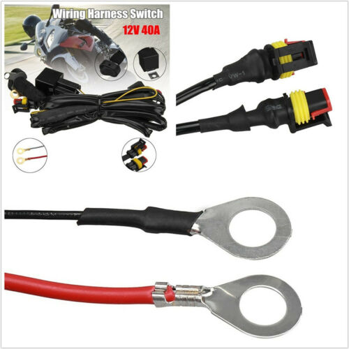 12V 40A Motorbikes ATV LED Fog Lamp Wiring Harness Switch On//Off For BMW R1200GS