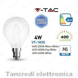 Lampadina led V-TAC 4W E14 VT-1935 P45 frost bianca filamento lampada opaca bulb